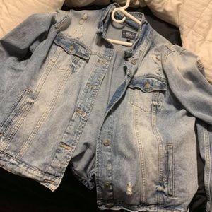 Silver distressed jean jacket